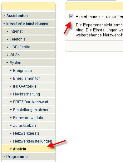 Fritzbox Expertenasicht aktivieren