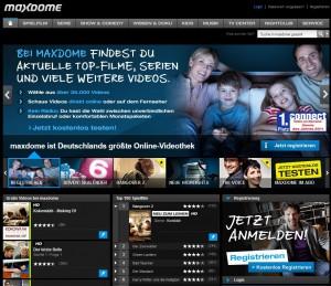 Maxdome - Screenshot der Webseite