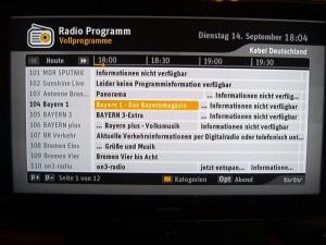 Radio-Programmübersicht des RCI88-320 KDG