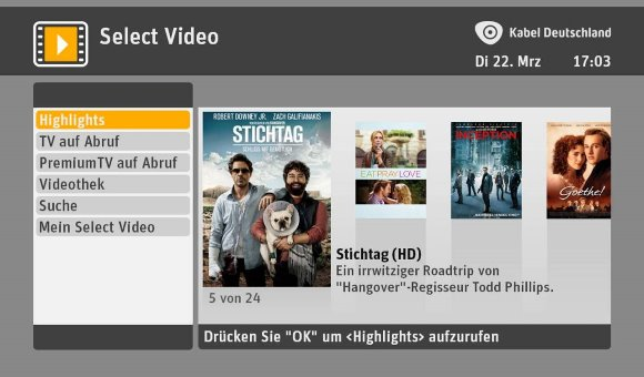 SELECT VIDEO Hauptmenü