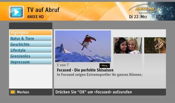 SELECT VIDEO Menü TV on Demand