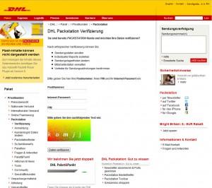 Achtung Pishingmail: dhl-packstation.info