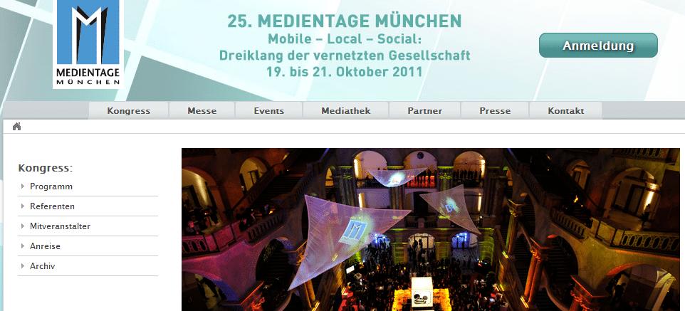 25. Medientage München - Homepage