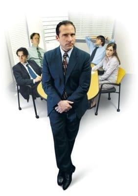 V. li. n. re.: Ryan (B. J. Novak), Dwight (Rainn Wilson), Michael (Steve Carell), Jim (John Krasinski) und Pam (Jenna Fischer).
