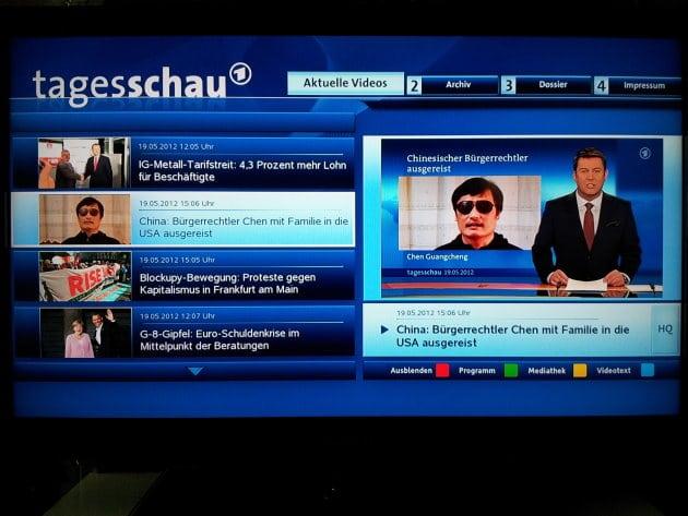 App der Tagesschau bei VideoWeb TV (Screenshot)