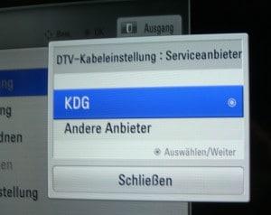 DTV-Kabeleinstellung