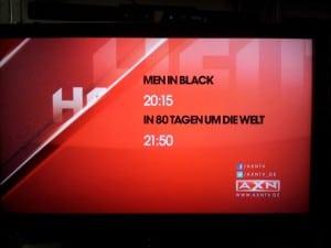 Screenshot vom Fernseher: Programmtafel bei AXN HD