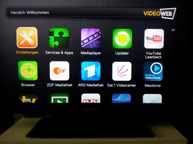 Installierte Apps bei Video Web TV