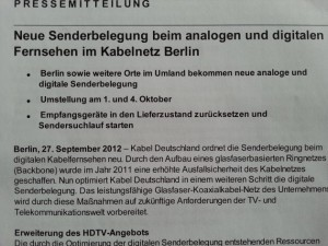 Kanalumstellung Berlin - Pressemitteilung