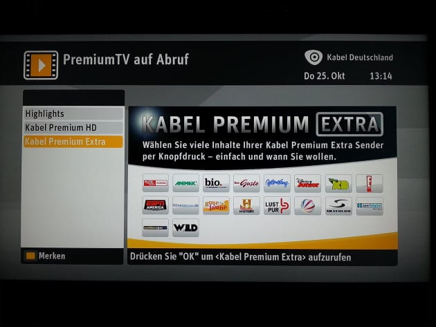 SELECT VIDEO - Bereich Kabel Premium