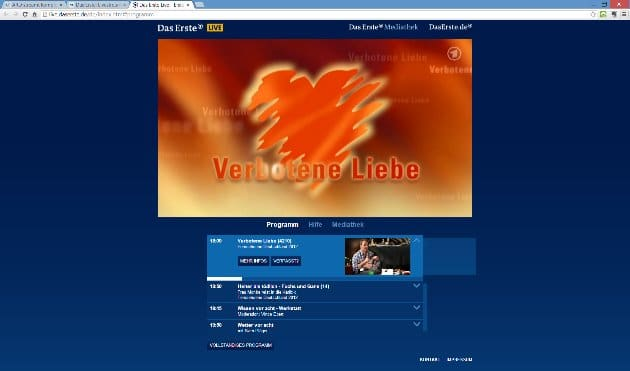 Web-Screenshot: Verbotene Liebe im Livestream