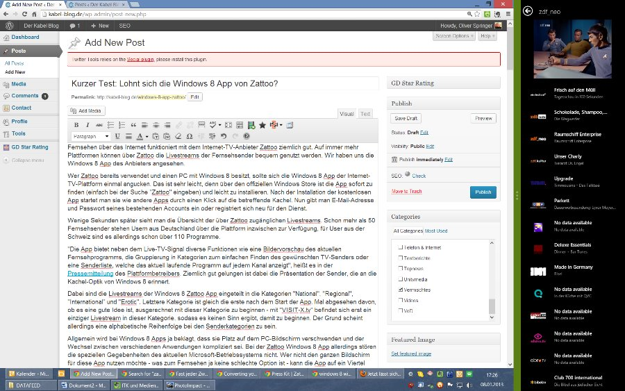 Screenshot: Die Zattooo Windows 8 App lässt sich beim Arbeiten gut am Rand des Monitors nutzen.