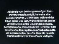 Hinweis auf Ladezeit Blu-ray-Disc beim HR929C