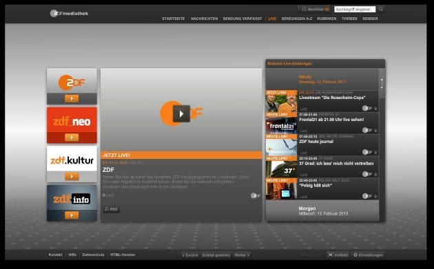 ZDF-Livestream-Auswahl auf dem PC