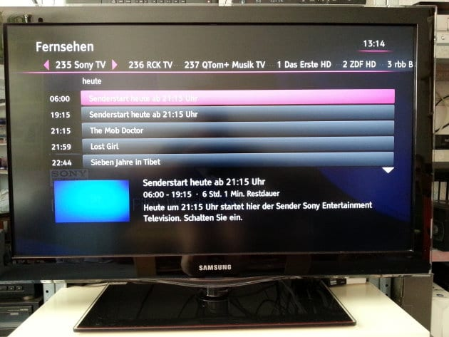 Foto: Redaktion | Programmübersicht im Entertain-EPG vor dem Start von Sony Entertainment Television