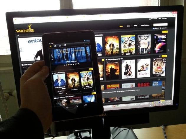 WATCHEVER auf Tablet und PC