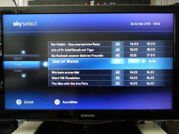 Screenshot Sky Select: Auswahl der Inhalte