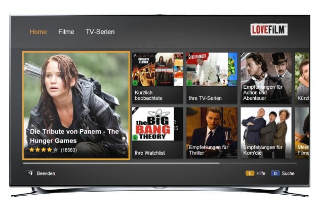 Lovefilm auf einem Samsung Smart TV | Pressebild via Harvard PR