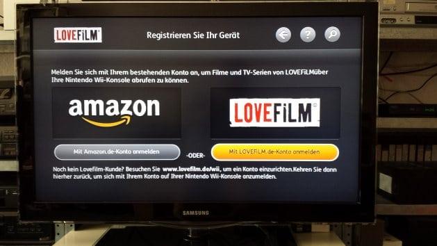 Anmelden mit Amazon- oder Lovefilm-Account | Screenshot: Lovefilm App auf TV-Gerät