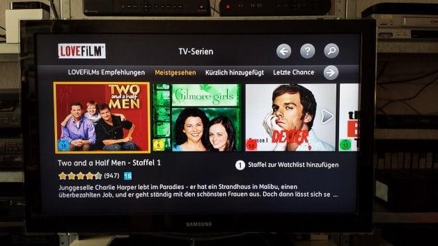 Beliebte Fernsehserien bei Lovefilm | Screenshot: Lovefilm App auf TV-Gerät