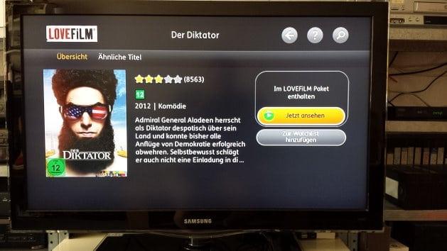 Detailansicht eines Spielfilms in der Lovefilm-App für die Wii | Screenshot: Lovefilm App auf TV-Gerät