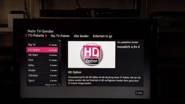 "Die ""HD Option"" auf dem Receiver MR 303 
