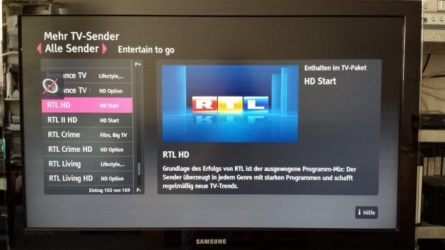 Entertain auf dem Fernseher: RTL HD in der Senderliste | Foto: Redaktion