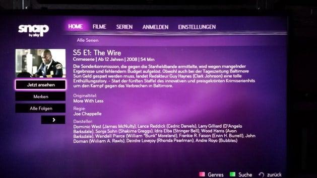 Details zu einer Serienepisode von The Wire bei Snap auf dem Fernseher | Bild: Redaktion