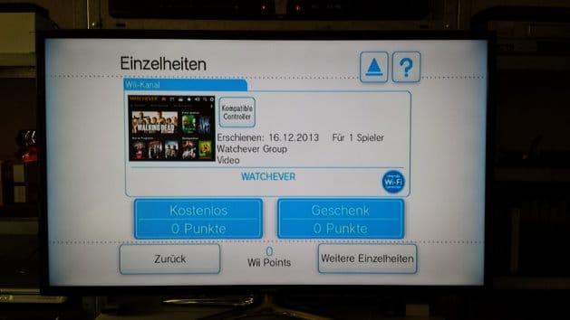 Watchever-App für die Wii vor der Installation