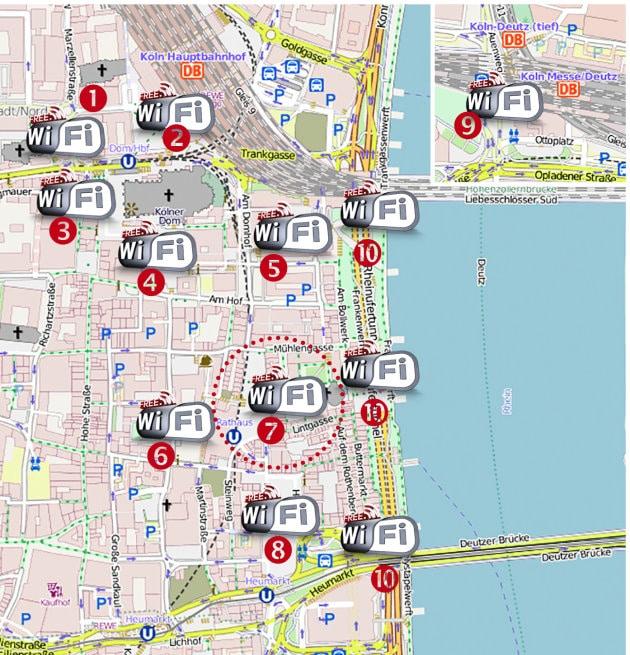 Überblick über die aktuellen und fest geplanten Hotspots | Bild: NetCologne