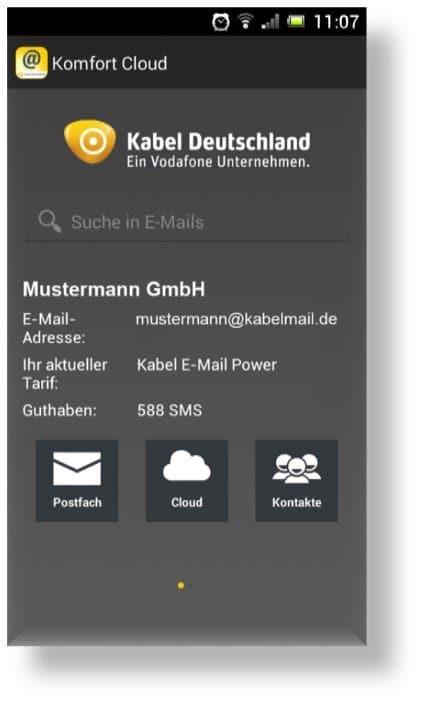 KD Komfort Cloud App Startscreen | Bild: Kabel Deutschland via Schwartz PR