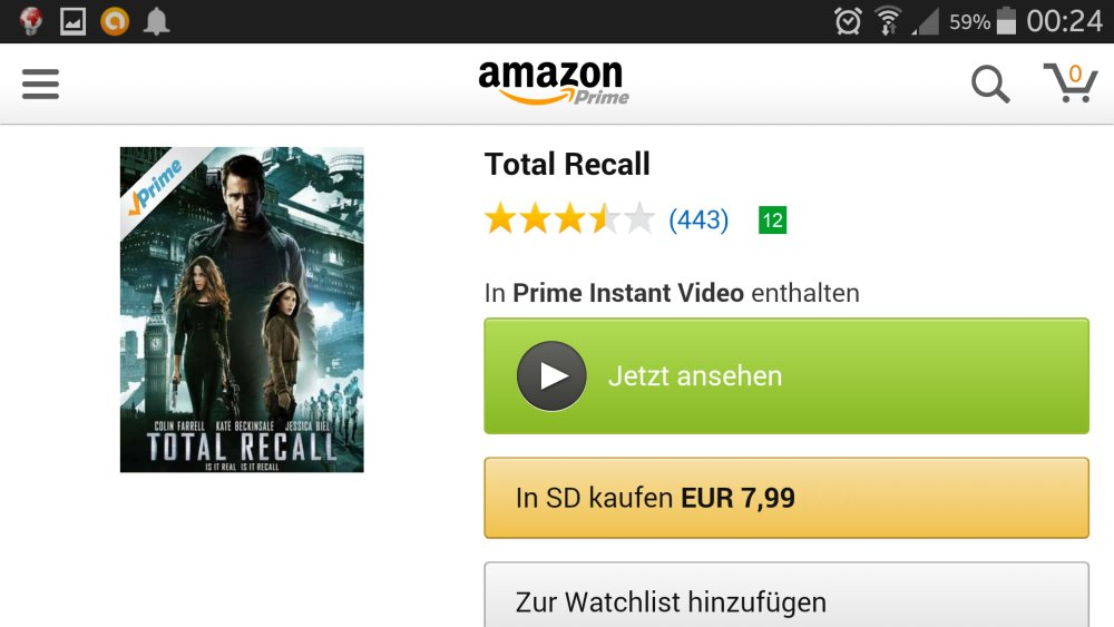 Amazon Instant Video auf Android-Smartphone | Screenshot: Redaktion
