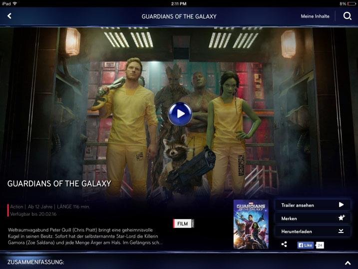 Sky Go Screenshot auf iPad | Bild: Sky (per E-Mail)