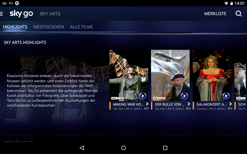 Sky Arts bei Sky Go (Android-App) | Screenshot: Redaktion