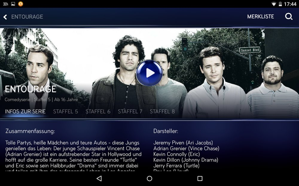 "Serie ""Entourage"" bei Snap in Sky Go App 