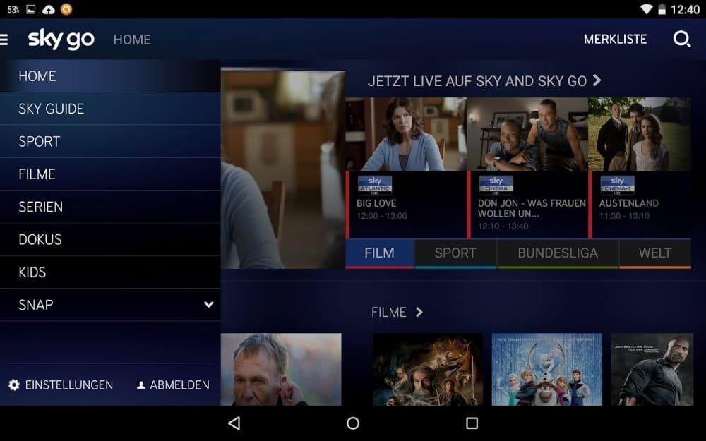 Sky Go Android App | Screenshot: Redaktion