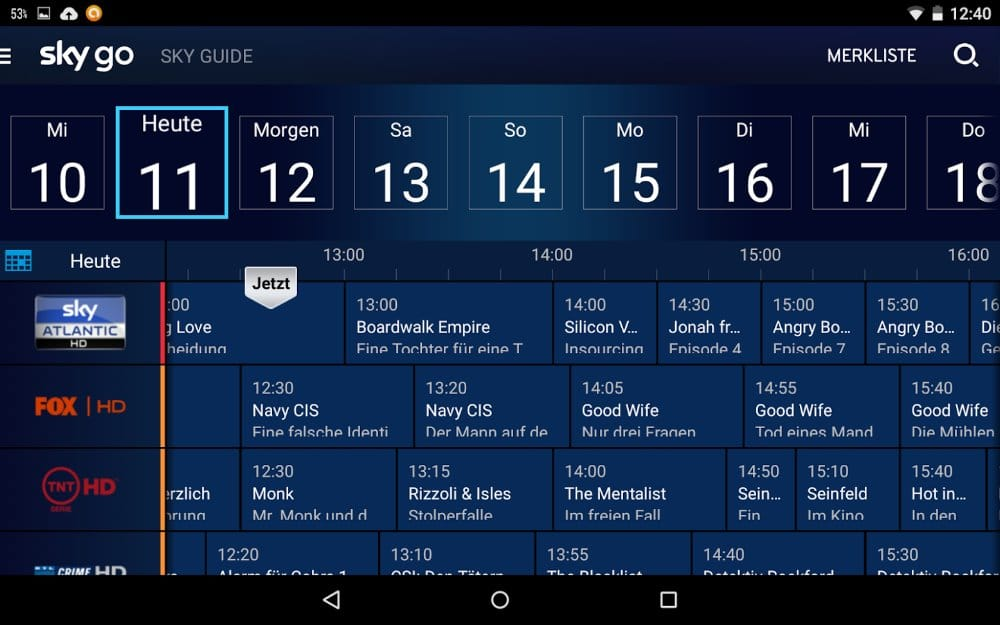 TV-Programm im Sky Guide | Screenshot: Redaktion