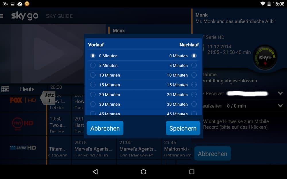Sky+ via App programmieren mit Vor- und Nachlauf