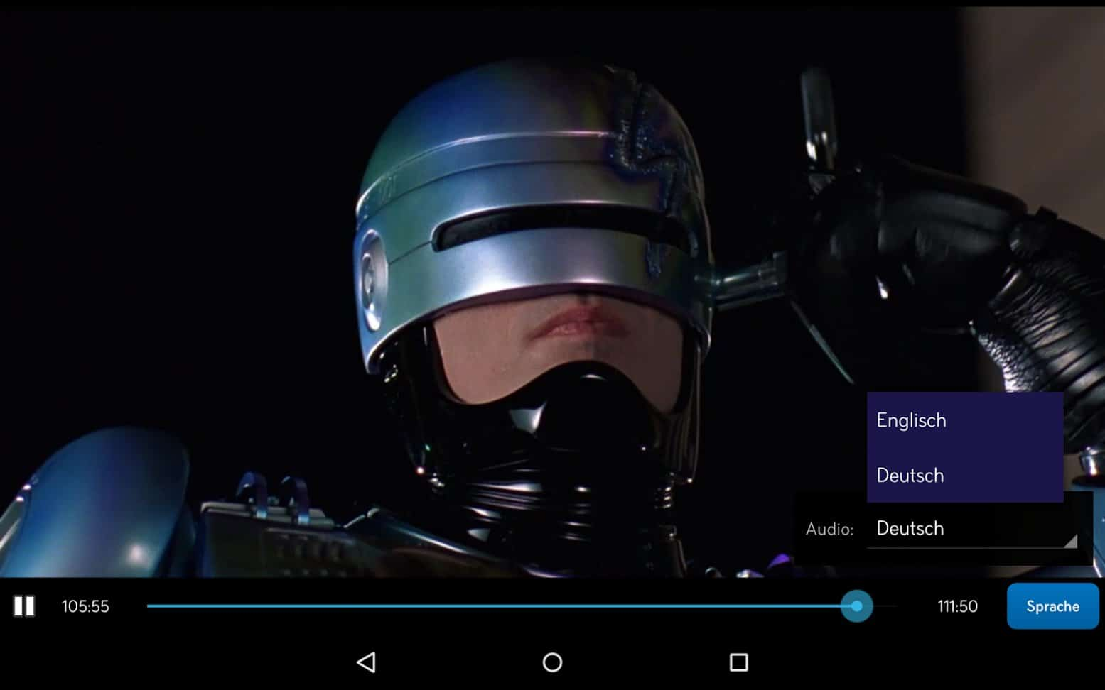 Sprache wählen bei RoboCop 2 in Sky Go App | Screenshot: Redaktion