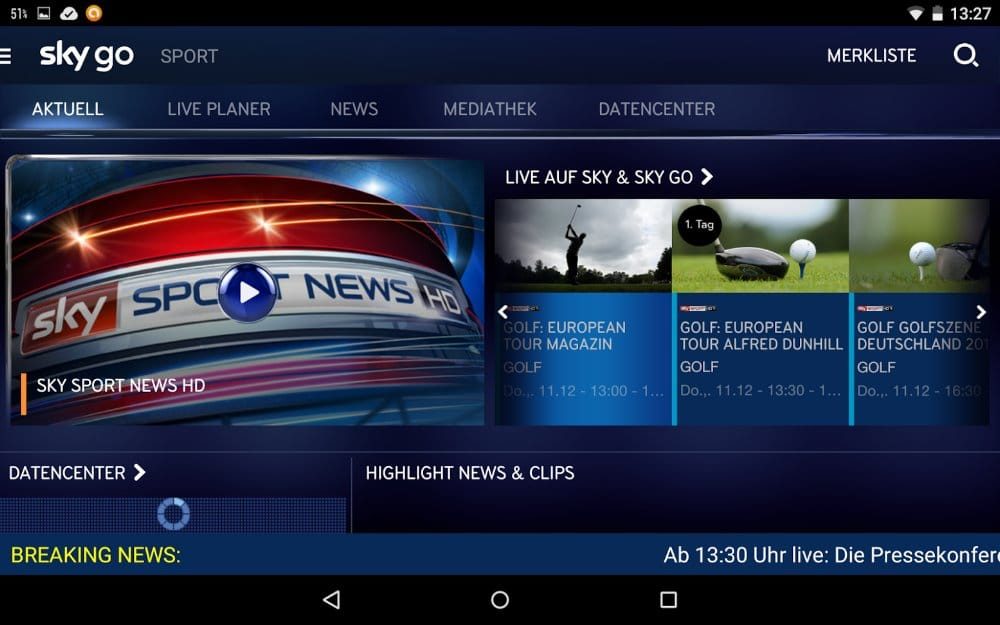 Sport in der Sky Go App | Screenshot: Redaktion
