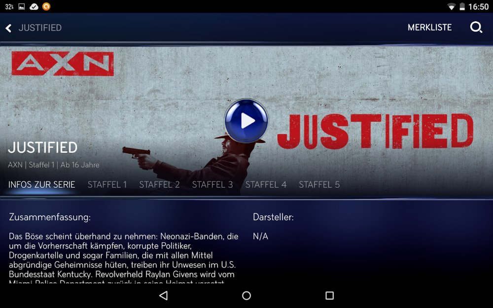 "Serie ""Justified"" in Sky Go App 