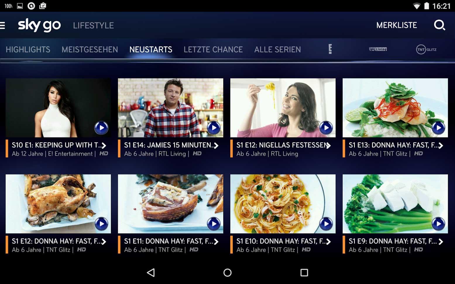 Lifestyle-Bereich bei Sky Go | Screenshot: Redaktion