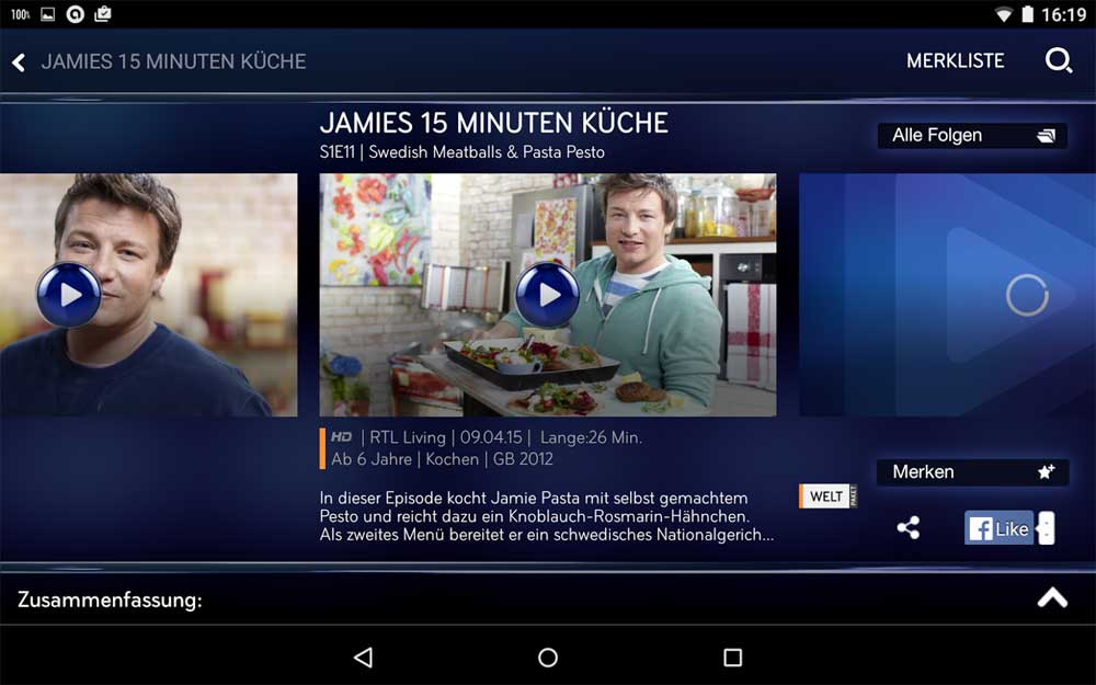 "Videos der Serie ""Jamies 15 Minuten Küche"" 