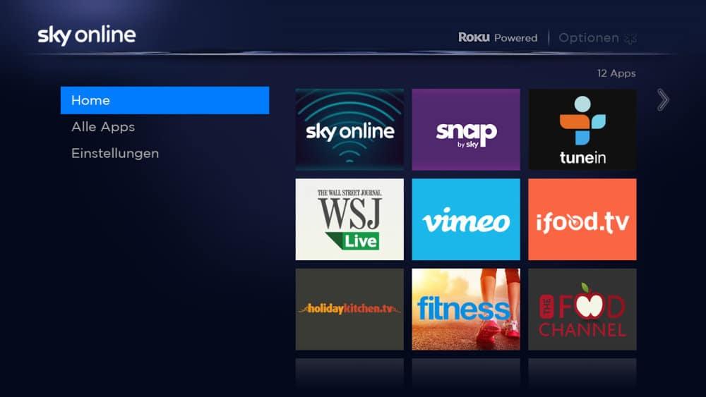Benutzeroberfläche von Sky Online TV | Bild: Sky (via E-Mail)