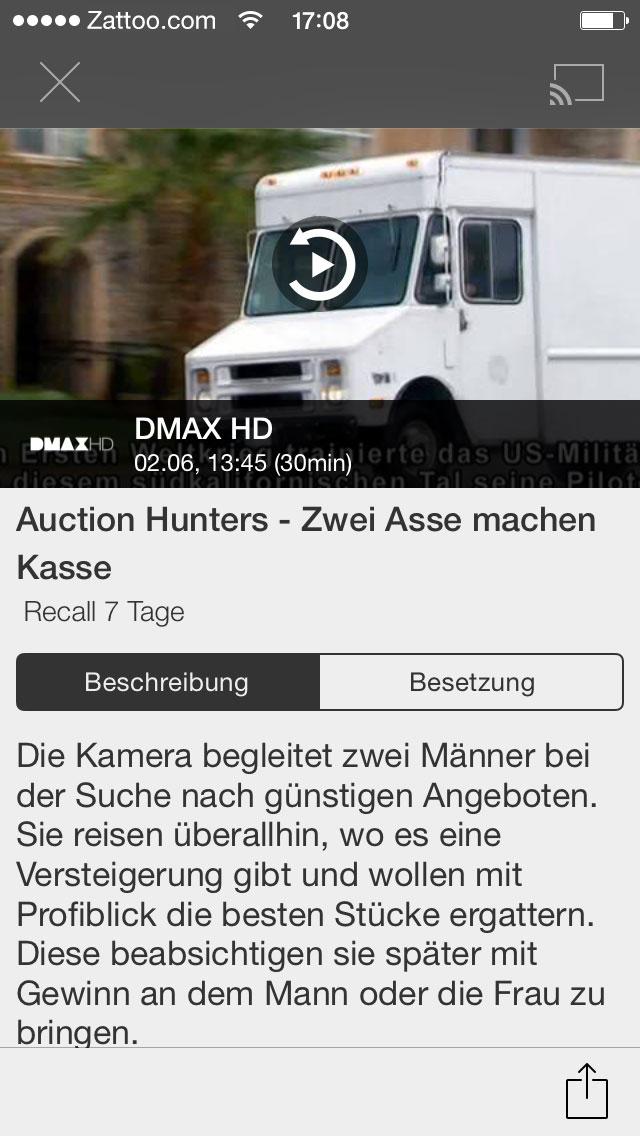Sendung von DMAX | Grafik: Zattoo (via E-Mail)