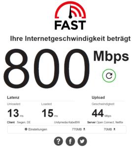 Fast.com Speedtest Ergebnis