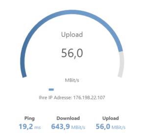 Internetanbieter.de Speedtest Ergebnis