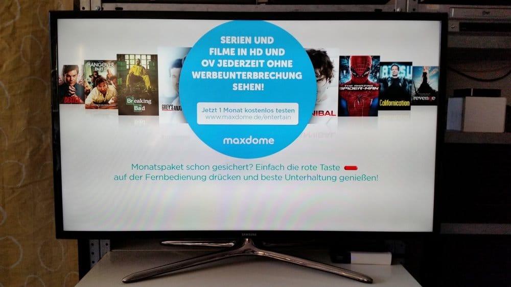Auf dem maxdome-Kanal geht es mit der roten Taste los | Foto: Redaktion