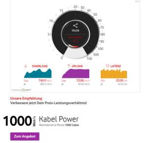 Ergebnis der DSL Speedmessung von Vodafone