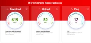 Ergebnisse vom Vodafone Kabel Speedtest